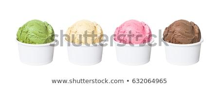 iki · dondurma · ananas · beyaz · plaka · gıda - stok fotoğraf © hofmeester