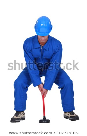 Landscape picture of plumber with plunger Stock photo © photography33