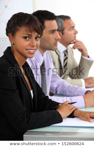 Trzy osoby wywiad płyta działalności twarz spotkanie Zdjęcia stock © photography33