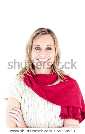 Radiant woman wearing red scarf smiling at the camera against white background Stock photo © wavebreak_media