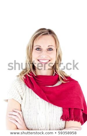 vrouw · Rood · sjaal · glimlachend · camera - stockfoto © wavebreak_media