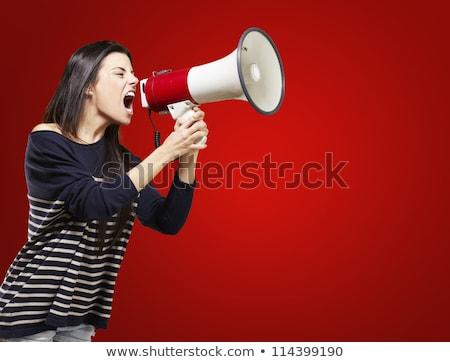 Mérges nő megafon fényes kép modell Stock fotó © dolgachov