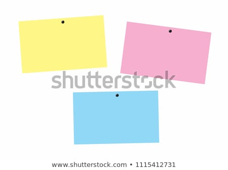 Stock fotó: Color Post Its With Drawing Pins On A White Background