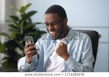 驚いた · ビジネスマン · 携帯電話 · クローズアップ · 肖像 · 白 - ストックフォト © elwynn