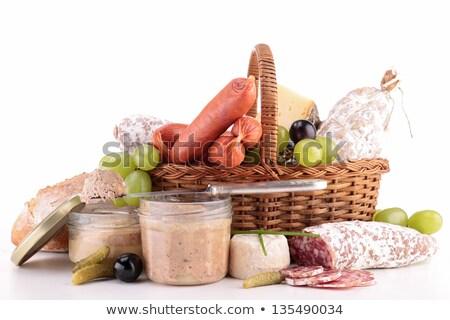 wicker basket with sausage,ham, pate Stock photo © M-studio