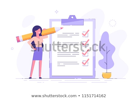 mulher · de · negócios · lápis · papel · jovem · branco - foto stock © kyolshin