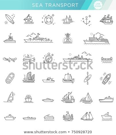 Ikona krążownik statku Zdjęcia stock © zzve