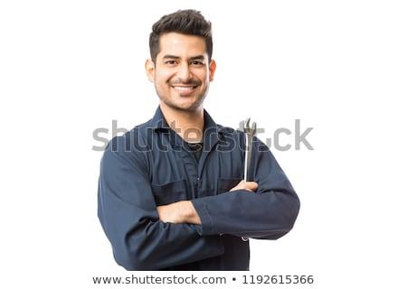 мужчины механиком ключа портрет белый службе Сток-фото © wavebreak_media