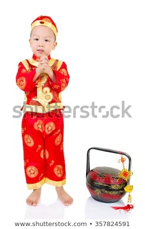 ázsiai · fiú · hagyományos · viselet · áll · fekete - stock fotó © iofoto