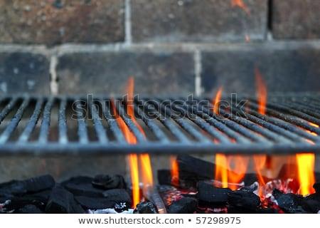 Bar b cue barbecue fire BBQ coal fire iron grill Stock photo © lunamarina