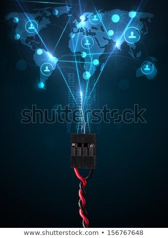 red · social · iconos · fuera · eléctrica · cable - foto stock © ra2studio