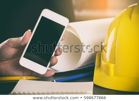 construction worker with blank screen tablet stock photo © kirill_m