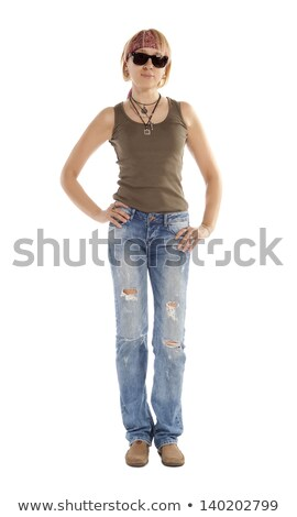 girl with torn leggings on white stock photo © elnur