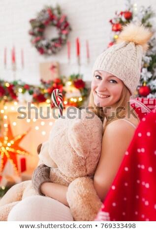 Lány piros alsónemű kandalló szexi lány szexi Stock fotó © ssuaphoto