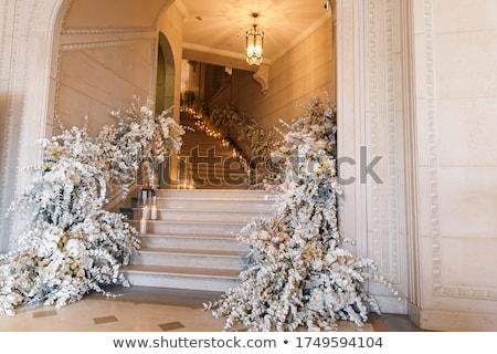 Pormenor cadeira decorado recepção de casamento flor comida Foto stock © gsermek
