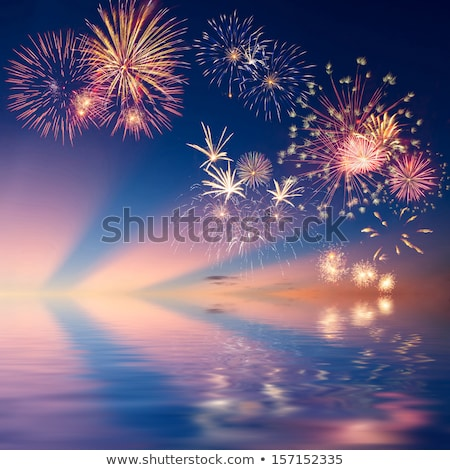 2014 Christmas and New Year Colorful Background with a waterfall of ray lights and a lot of baubles  Stock photo © DavidArts