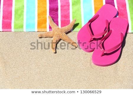 Zomerschoenen strand zeester wit zand vrouw mode Stockfoto © tannjuska