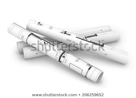 építkezés · rajzok · asztal · építész · csavarhúzó · szint - stock fotó © cherezoff