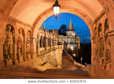 south gate of Fisherman's Bastion in Budapest Stock photo © Kayco