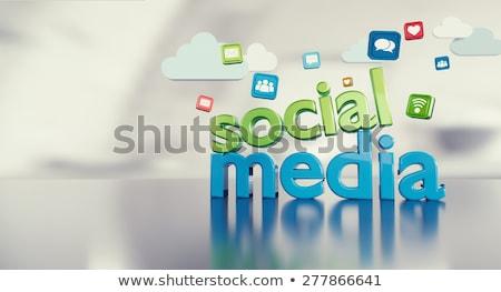 3D szó közösségi média arany fényes üzlet Stock fotó © maxmitzu
