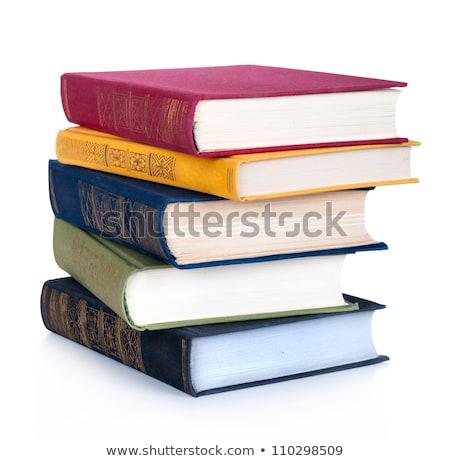 Stock fotó: Könyv · boglya · alma · izolált · fehér · papír