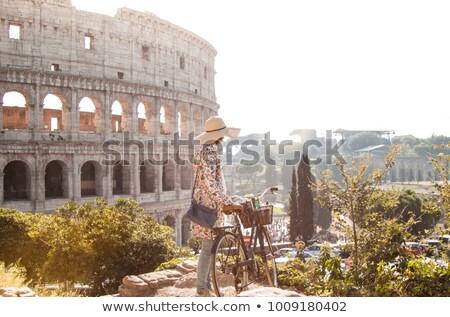 Gyönyörű nő Colosseum Róma Olaszország nő felhők Stock fotó © Nejron