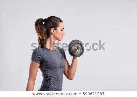 フィットネス女性 · バーベル · ジム · ブロンド · 強い · 女性 - ストックフォト © stryjek
