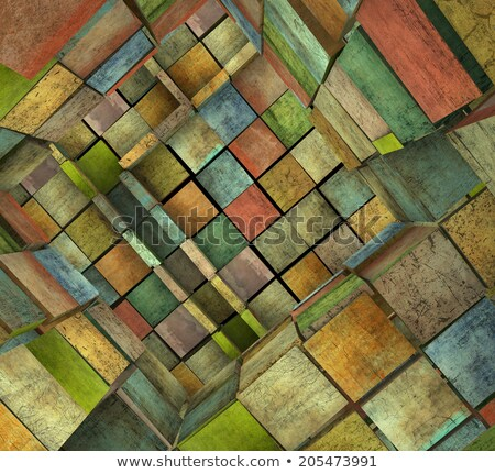 3d fragmented tiled mosaic labyrinth in multiple color Stock photo © Melvin07