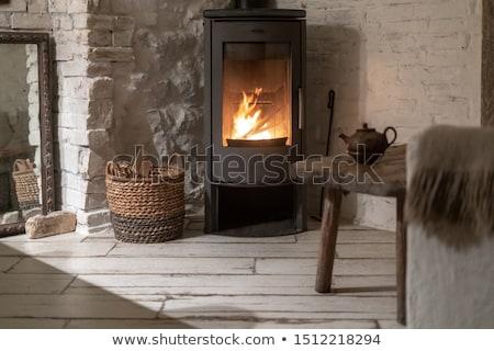 Ognisko komin domu drewna świetle noc Zdjęcia stock © FrameAngel