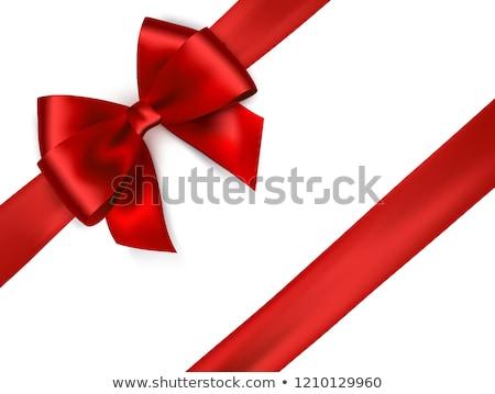 kutu · kırmızı · saten · şerit · yay · hediye - stok fotoğraf © -baks-