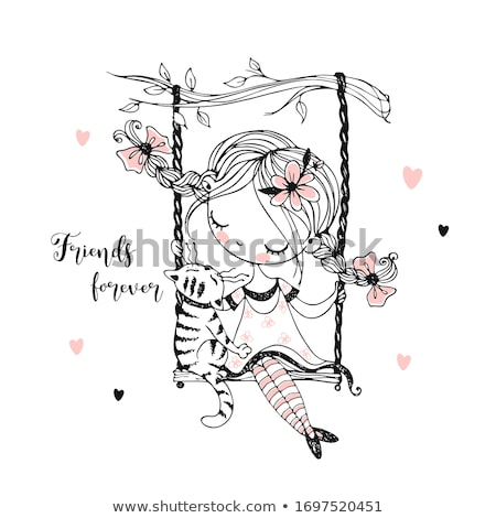 девушки Swing закат счастливым силуэта счастье Сток-фото © adrenalina