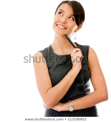 Pensive femme isolé blanche rêvasser mains Photo stock © stockyimages