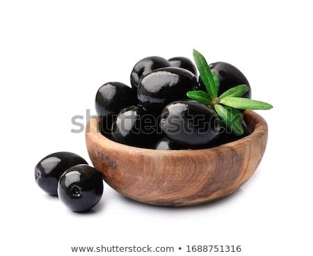 Foto stock: Azeitonas · pretas · pequeno · branco · prato · folha · fruto