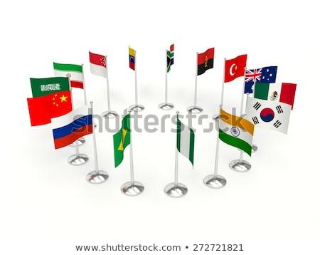 Китай Бразилия миниатюрный флагами изолированный белый Сток-фото © tashatuvango