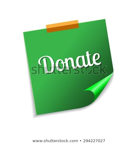 Foto d'archivio: Donare · verde · note · adesive · vettore · icona · design