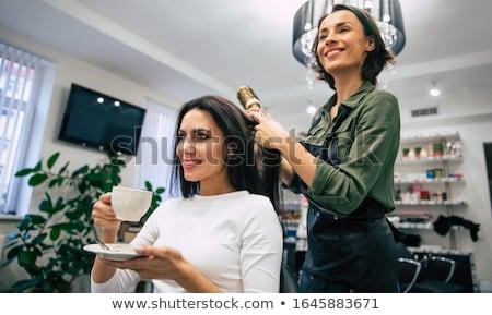 Vrouw haren gedroogd kapsalon man gelukkig Stockfoto © wavebreak_media