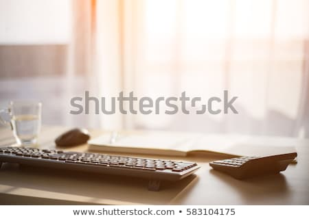 Working place with keyboard, mouse, calculator and pen Stock photo © jordanrusev