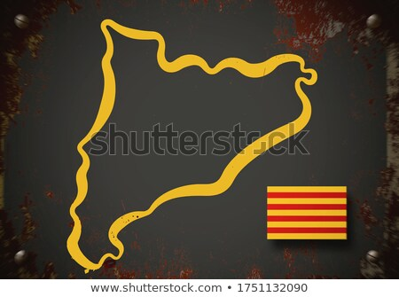 catalonia 3d map with flag colors Stock photo © georgejmclittle