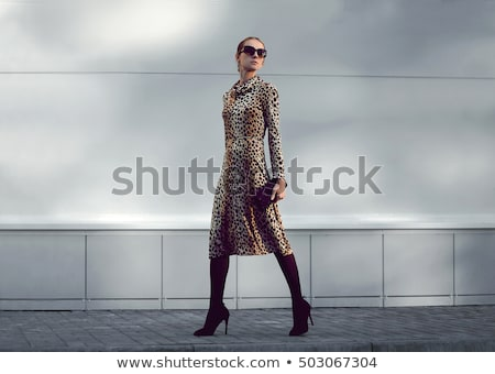 Stock photo: lovely woman with leopard shoes