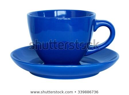 Сток-фото: синий · керамической · Кубок · блюдце · изолированный · белый