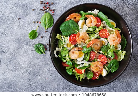 Garnélák hal saláta zöld szín kövér Stock fotó © shutswis