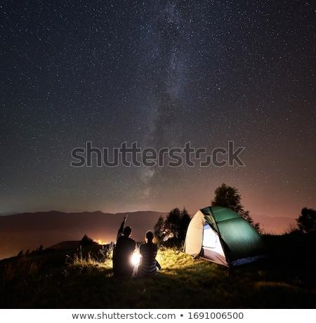 casal · camping · noite · tenda · mulher - foto stock © ongap