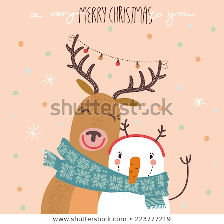 merry christmas card with wild animals stock photo © get4net