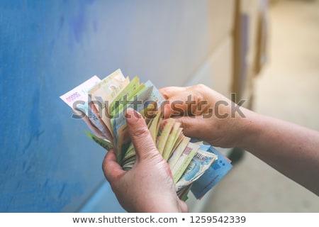 öreg valuta közelkép kék portré piros Stock fotó © michaklootwijk