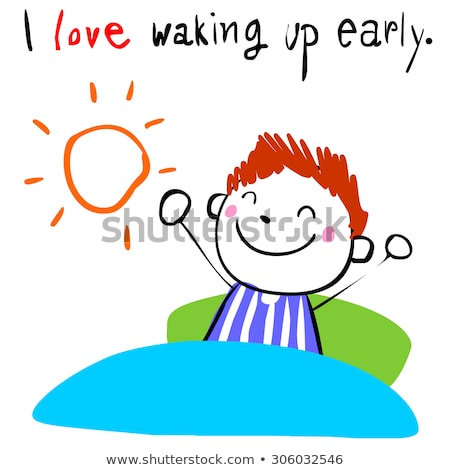 A coloured sketch of a boy waking up early Stock photo © bluering
