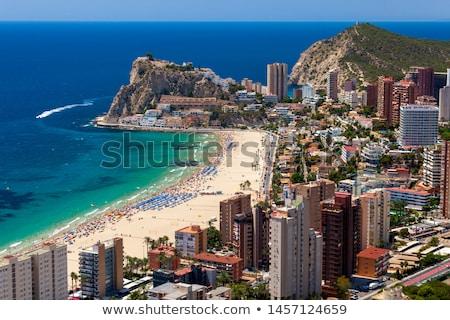 tengerpart · mediterrán · Spanyolország · égbolt · város · nap - stock fotó © lunamarina