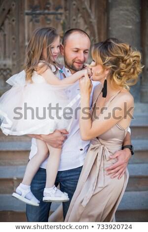 Felicità padre piccolo figlia erba genitori Foto d'archivio © Giulio_Fornasar
