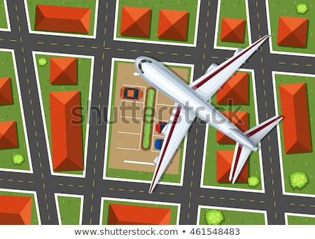 Widok z lotu ptaka samolot pływające sąsiedztwo ilustracja domu Zdjęcia stock © bluering