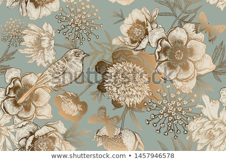 vintage seamless wallpaper with flowers and butterfly, vector illustration Stock photo © carodi