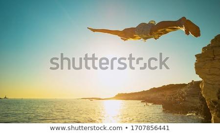 Urwisko niebo wody górskich niebieski Europie Zdjęcia stock © zurijeta